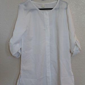 White Woven Blouse 3/4 sleeve